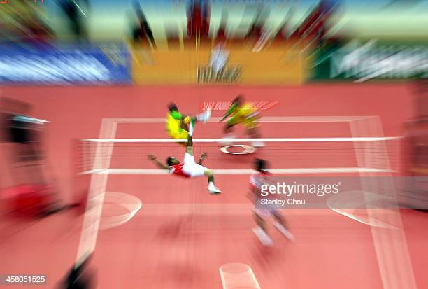 General view of the Men's Team Double Final of the Sepak Takraw Competition between Indonesia and Burma during the 2013 SEA Games at the Wunna...