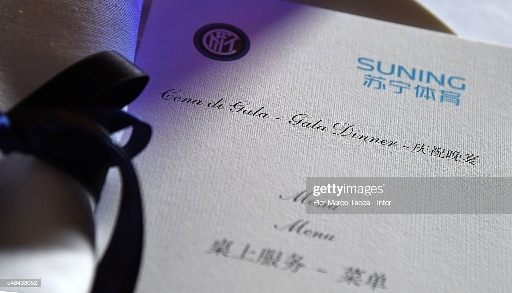 A general view of the menu during the dinner after FC Internazionale Shareholder's Meeting on June 28, 2016 in Milan, Italy.