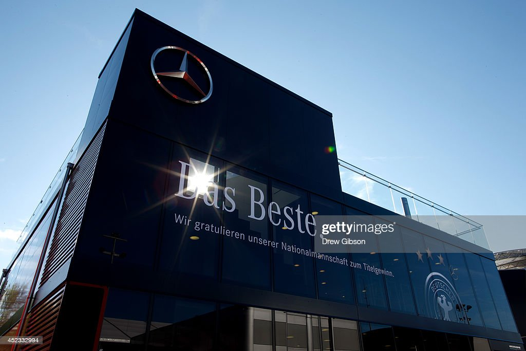 A general view of the Mercedes hospitality unit in the paddock during practice ahead of the German Grand Prix at Hockenheimring on July 18 2014 in...