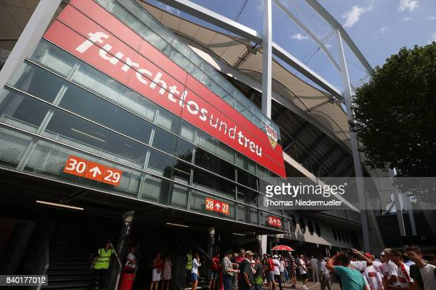 General view of the MercedesBenz Arena prior to the Bundesliga match between VfB Stuttgart and 1 FSV Mainz 05 at MercedesBenz Arena on August 26 2017...