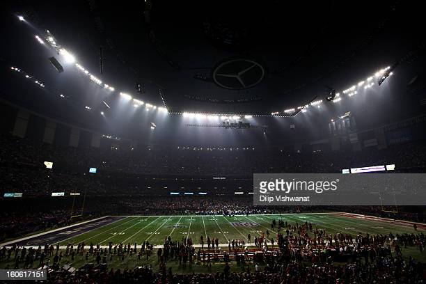 A general view of the MercedesBenz Superdome after a sudden power outage in the second half during Super Bowl XLVII at the MercedesBenz Superdome on...