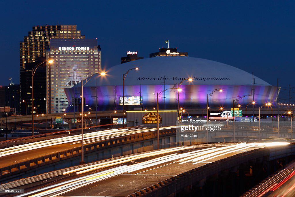 A general view of the Mercedes-Benz Superdome prior to Super Bowl XLVII on January 31, 2013 in New Orleans, Louisiana.