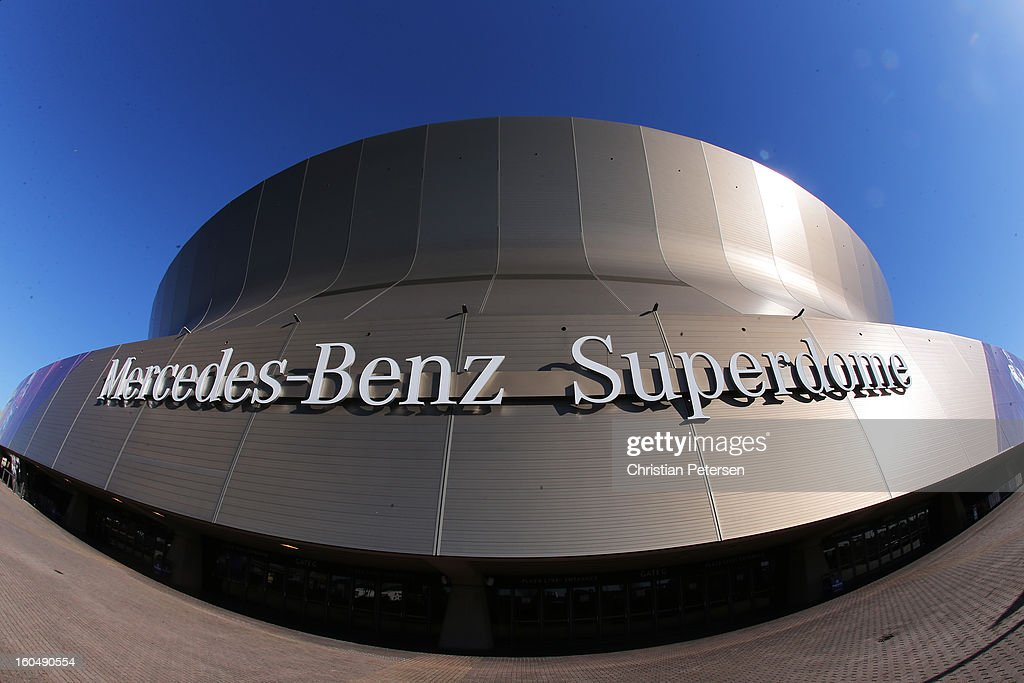 A general view of the Mercedes-Benz Superdome prior to Super Bowl XLVII on February 1, 2013 in New Orleans, Louisiana.
