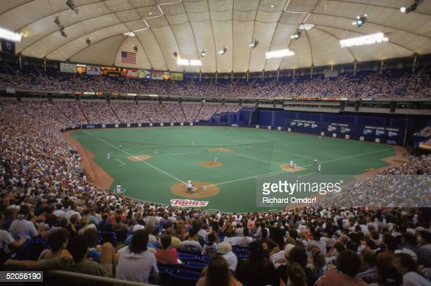 A general view of the MetroDome taken during a Minnesota Twins 1995 season game in Minneapolis MN