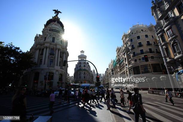 A general view of the Metropolis building at the famous boulevard Gran Via on May 20 2010 in Madrid Spain Madrid is a big european city with more...
