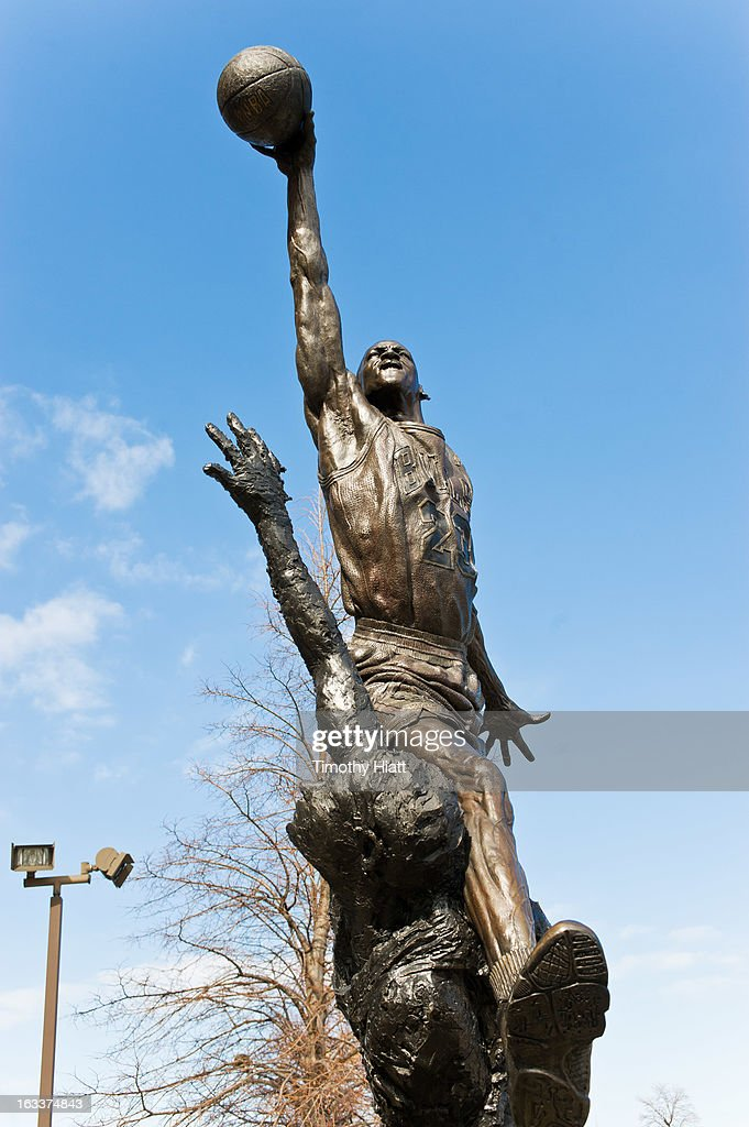 A general view of the Michael Jordan statue outside of the United Center on March 7, 2013 in Chicago.