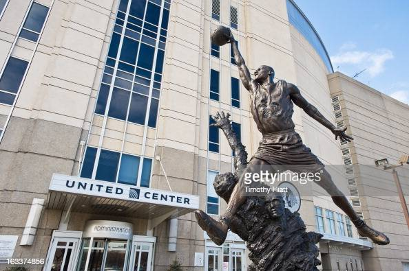 A general view of the Michael Jordan statue outside of the United Center on March 7 2013 in Chicago