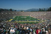 General view of the Michigan Wolverines and UCLA Bruins fans during the Rose Bowl game on January 1 1983 in Pasadena California UCLA won 2414