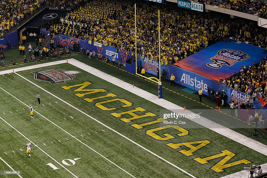 A general view of the Michigan Wolverines end zone and it's marching band in the stands against the Virginia Tech Hokies during the Allstate Sugar...