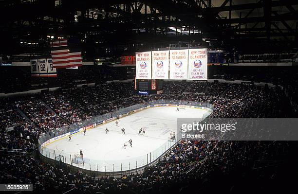 General view of the Mighty Ducks of Anaheim and the New York Islanders game on December 28 1993 at the Nassau Coliseum in Uniondale New York