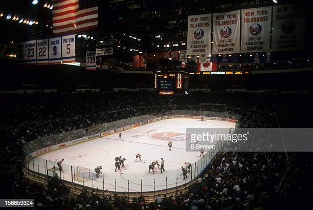 General view of the Mighty Ducks of Anaheim and the New York Islanders on October 10 1993 at the Nassau Coliseum in Uniondale New York