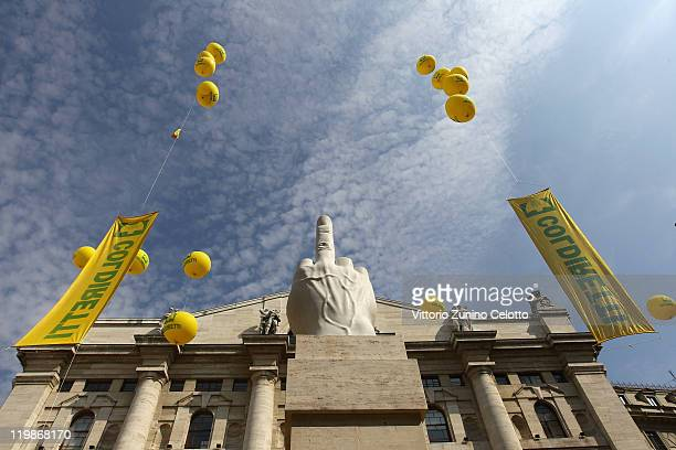 A general view of the Milan Stock Exchange during the pig farmers protest on July 26 2011 in Milan Italy Italian pig farmers who are members of the...