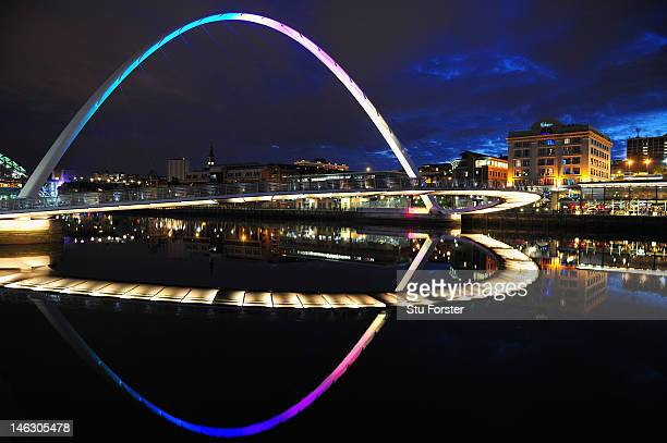 A general view of the Millennium Bridge at night over the River Tyne on June 13 2012 in Newcastle upon Tyne England
