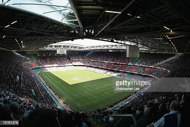 A general view of the Millennium Stadium as it hosts its last English Football match during the Johnstones Paint Trophy Final match between Bristol...