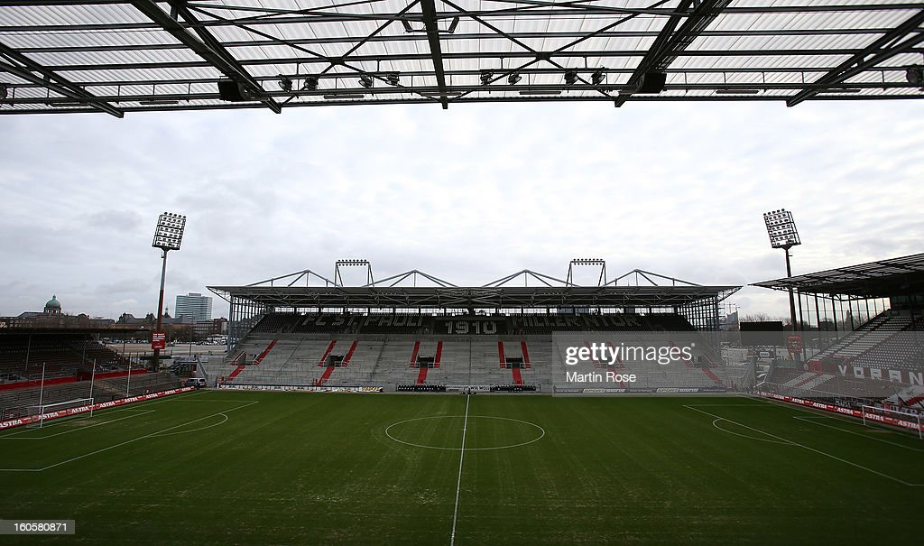 A general view of the Millerntor Stadium with the new build east stand before the second Bundesliga match between FC St. Pauli and Energie Cottbus at Millerntor Stadium at Millerntor Stadium on February 3, 2013 in Hamburg, Germany.