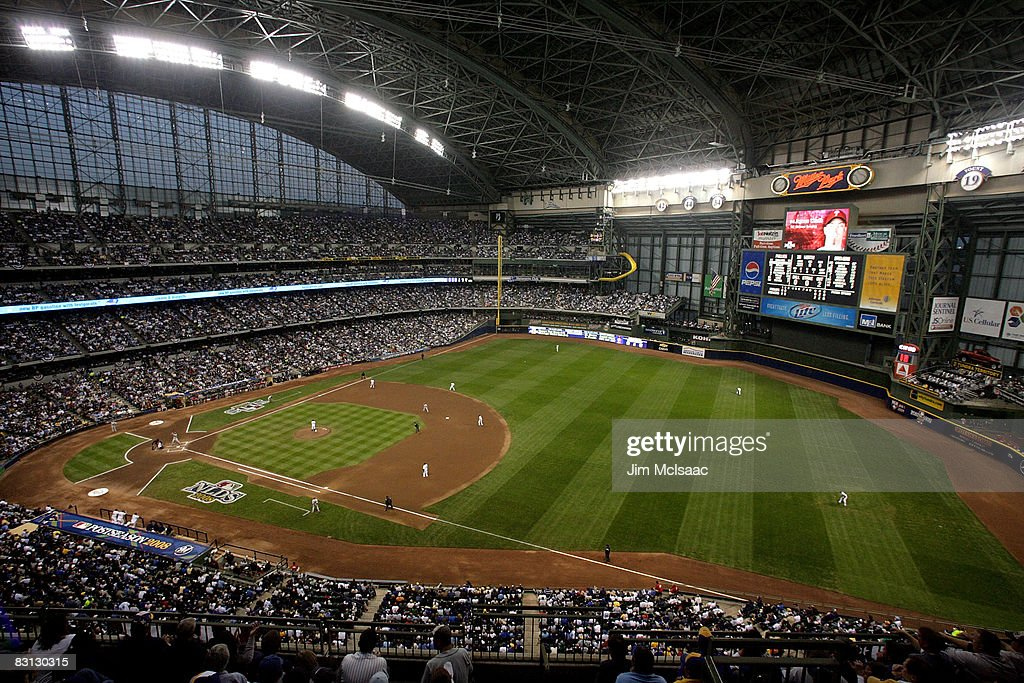 A general view of the Milwaukee Brewers playing against the Philadelphia Phillies in Game three of the NLDS during the 2008 MLB playoffs at Miller...