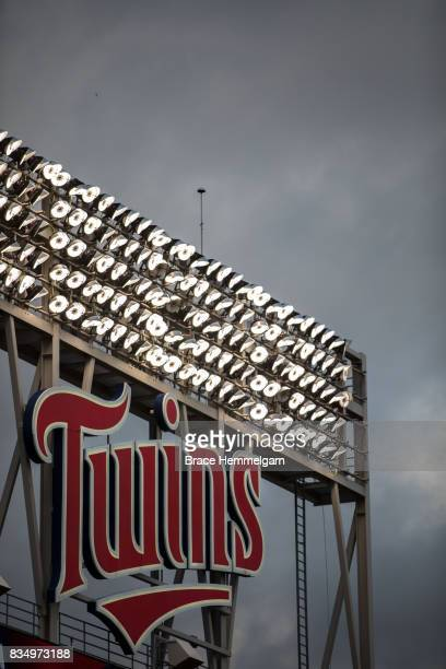 A general view of the Minnesota Twins logo on the scoreboard and LED lights against the Texas Rangers on August 3 2017 at Target Field in Minneapolis...