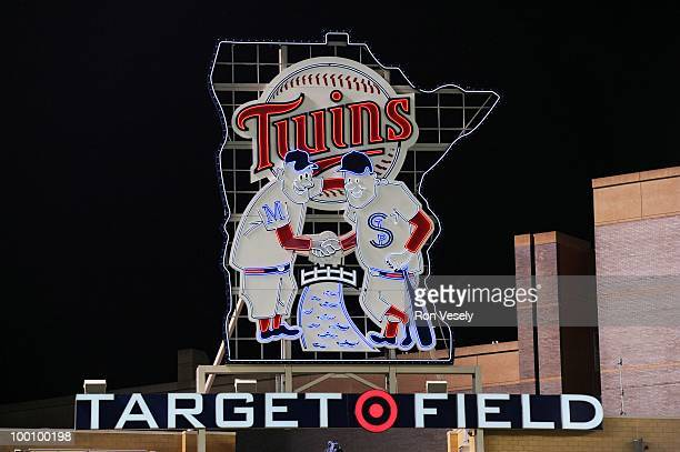 A general view of the Minnesota Twins neon logo as 38 764 fans watch the Minnesota Twins play the Chicago White Sox at Target FIeld in Minneapolis...