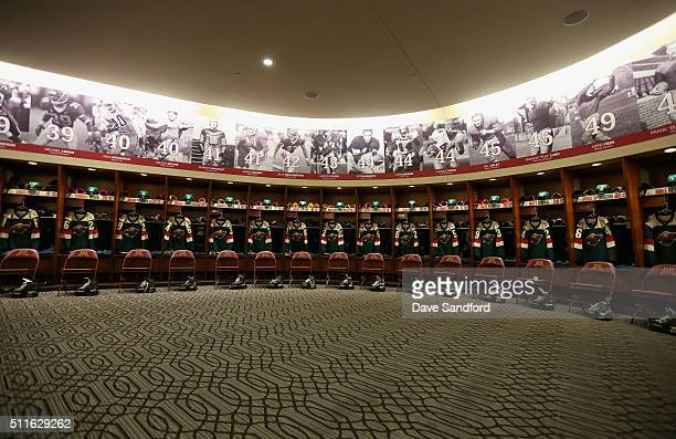 A general view of the Minnesota Wild locker room is seen prior to the 2016 Coors Light Stadium Series game between the Chicago Blackhawks and the...