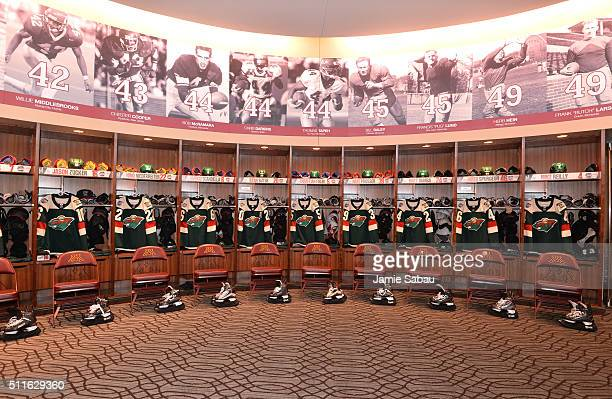 A general view of the Minnesota Wild locker room is seen prior to the 2016 Coors Light Stadium Series game between the Minnesota Wild and the Chicago...