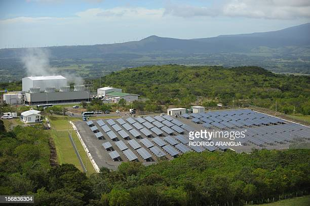 General view of the Miravalles Solar Power Plant in Miravalles 220 km north of San Jose taken on November 22 2012 Costa Rica inaugurated the largest...