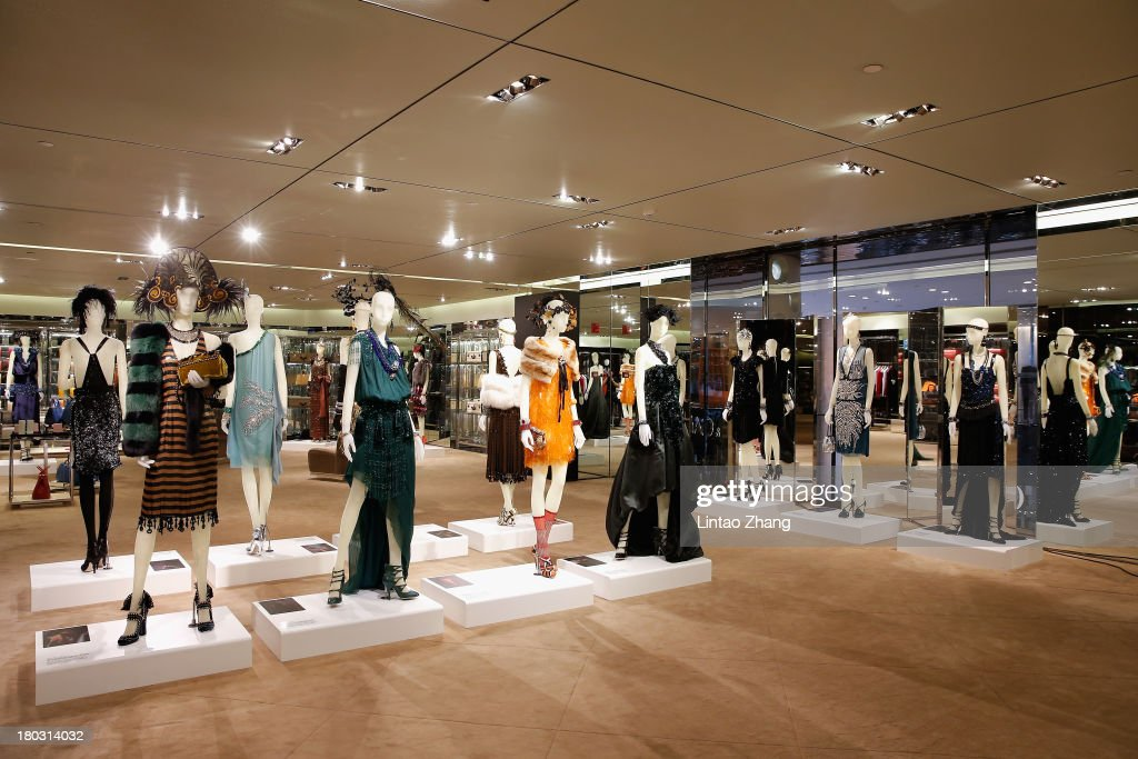 A general view of the Miuccia Prada and Catherine Martin Dress Gatsby exhibition in Prada store on September 10, 2013 in Shanghai, China.