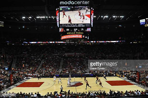 A general view of the Moda Center during the fourth quarter of the game between the Portland Trail Blazers and the Cleveland Cavaliers at Moda Center...