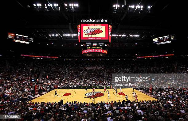 A general view of the Moda Center during the game between the Portland Trail Blazers and the Houston Rockets on November 5 2013 in Portland Oregon...