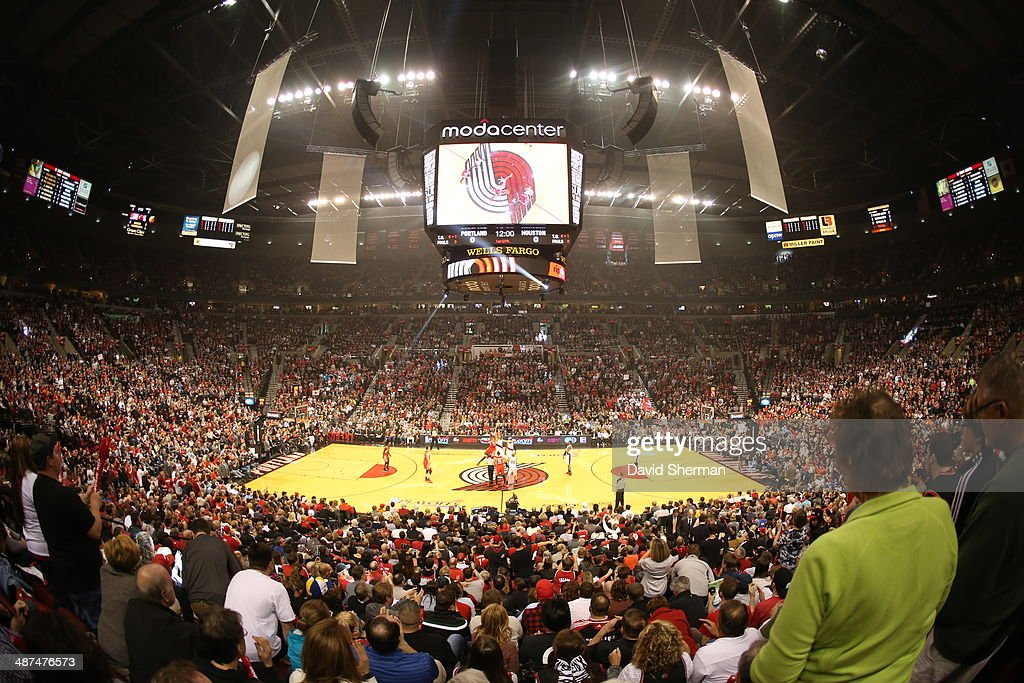 A general view of the Moda Center during the Portland Trail Blazers game against the Houston Rockets in Game Four of the Western Conference Quarterfinals during the 2014 NBA Playoffs on April 27, 2014 at the Moda Center in Portland, Oregon.