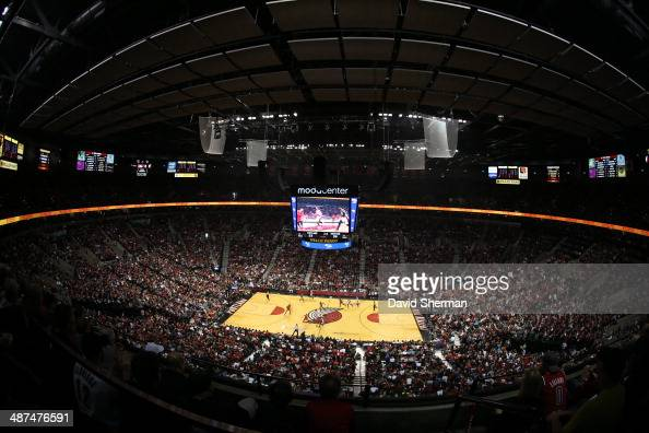 A general view of the Moda Center during the Portland Trail Blazers game against the Houston Rockets in Game Four of the Western Conference...