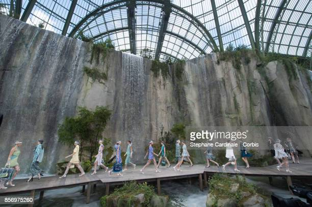 General view of the models as they walk the runway during the Chanel Spring Summer 2018 show at the 'Grand Palais' as part of Paris Fashion Week at...