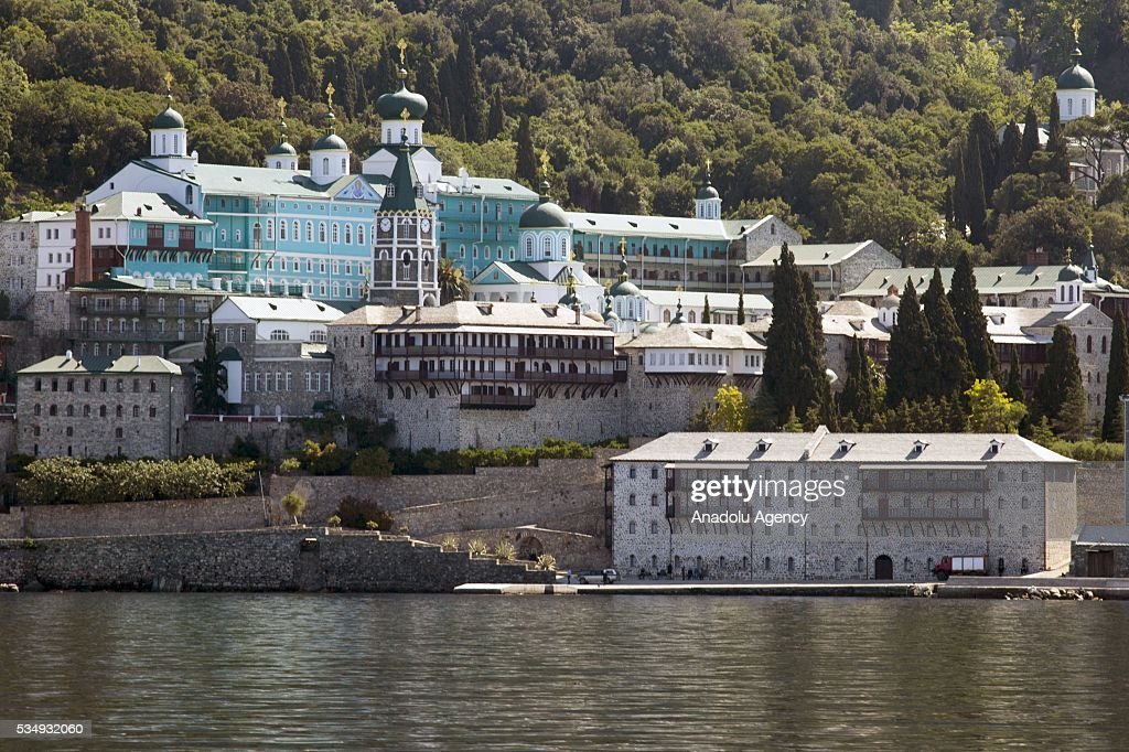 A general view of the monastry before the visit of The President of Greece, Prokopis Pavlopoulos and President of the Russian Federation, Vladimir Putin in a monastry in Mount Athos, Greece on May 28, 2016.