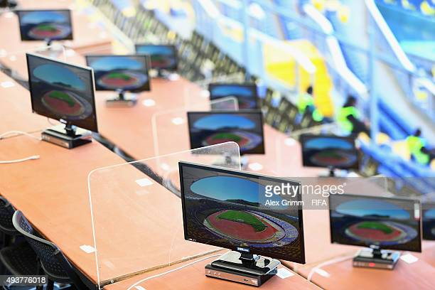 A general view of the monitors in the media tribune prior to the FIFA U17 World Cup Chile 2015 Group E match between South Africa and Korea DPR at...