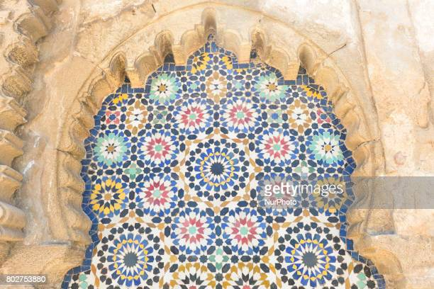 A general view of the Moroccan ceramic wall tile seen near the Royal Palace in Rabat On Wednesday June 28 in Rabat Morocco