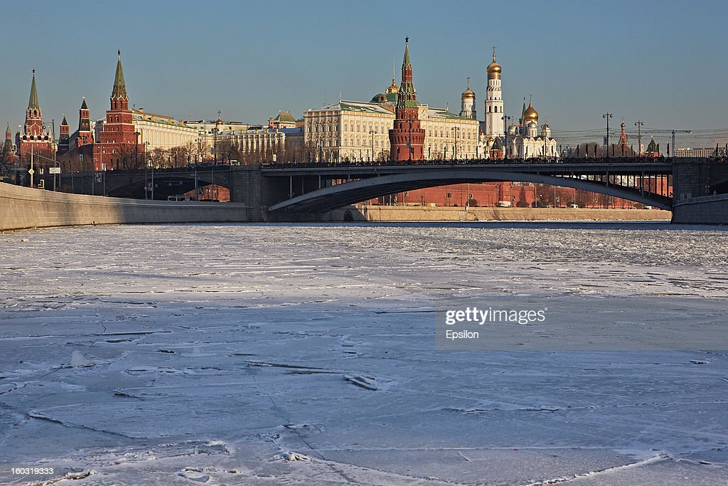A general view of the Moscow's Kremlin with the Moskva River iced over on December 17, 2012 in Moscow, Russia.