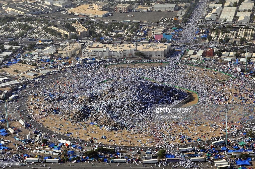 A general view of the Mount Arafat where the Muslim pilgrims gather on October 14, 2013 in Mecca, Saudi Arabia. More than two million prospective pilgrims who poured out of the Muslim holy city of Mecca to begin the annual Hajj, have flocked Arafat for the Waqfa Prayer.