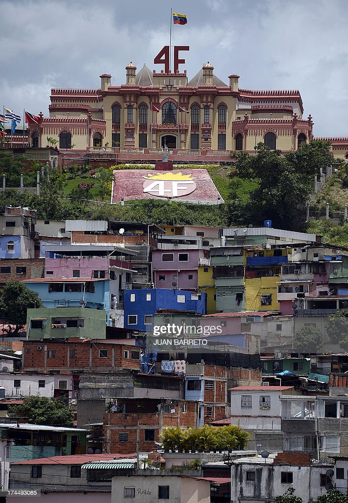General view of the Mountain Barracks, where the remains of former Venezuelan President Hugo Chavez (1954-2013) lie, at '23 de Enero' neighborhood, in Caracas on July 26, 2013. July 28, 2013 marks the first anniversary of Chavez's birth after his death.