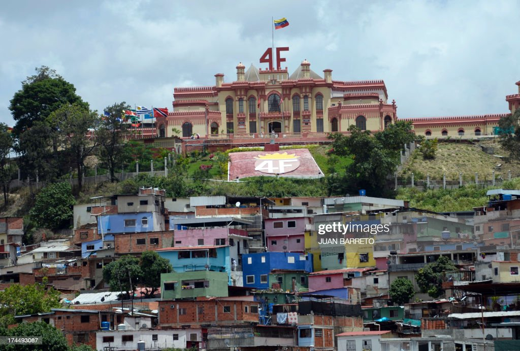 General view of the Mountain Barracks, where the remains of former Venezuelan President Hugo Chavez (1954-2013) lie, at '23 de Enero' neighborhood, in Caracas on July 26, 2013. July 28, 2013 marks the first anniversary of Chavez's birth after his death. AFP PHOTO/JUAN BARRETO