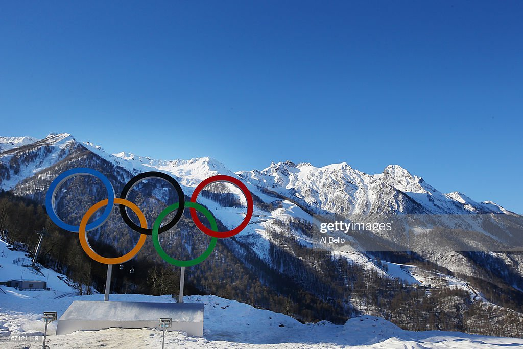 A general view of the Mountains ahead of the Sochi 2014 Winter Olympics at Rosa Khutor athletes village on February 6 2014 in Sochi Russia