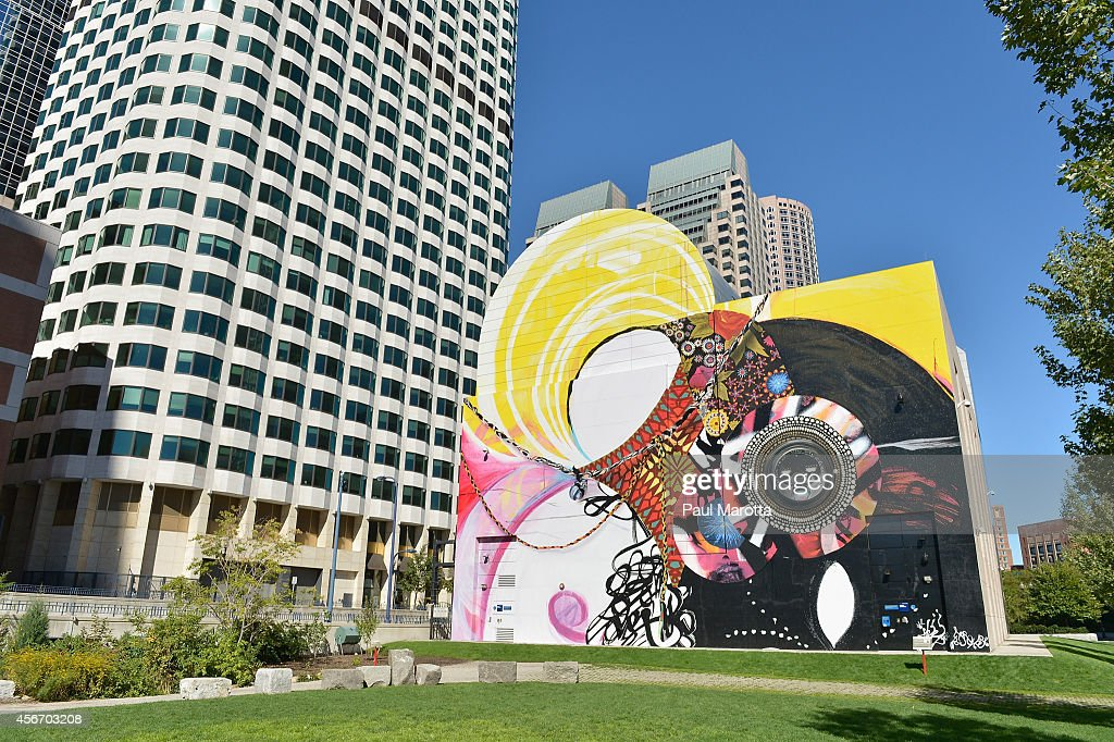 A general view of the mural SEVEN MOON JUNCTION by artist Shinique Smith at the Greenway Wall at Dewey Square Park on October 5, 2014 in Boston.