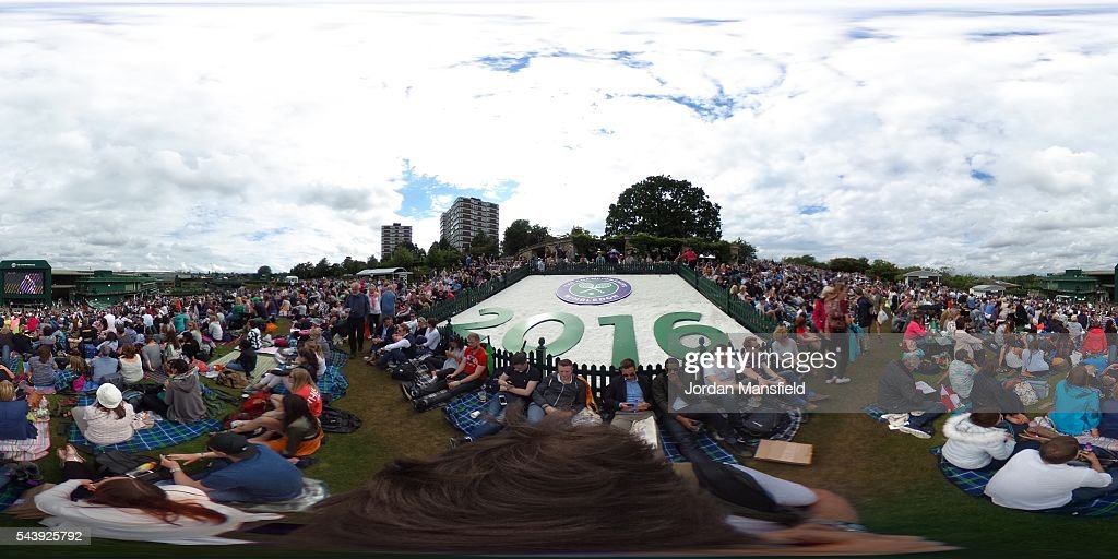 A general view of the Murray mound as people watch Andy Murray of Great Britain during the Men's Singles second round match against Yen-Hsun Lu of Taipei on day four of the Wimbledon Lawn Tennis Championships at the All England Lawn Tennis and Croquet Club on June 30, 2016 in London, England.