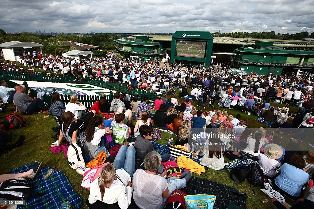A general view of the Murray mound on day four of the Wimbledon Lawn Tennis Championships at the All England Lawn Tennis and Croquet Club on June 30, 2016 in London, England.
