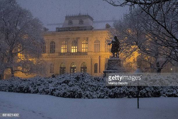A general view of the Narodni Muzej under heavy snow on January 13 2017 in Ljubljana Slovenia Most of Slovenia was covered by heavy snowfalls for the...