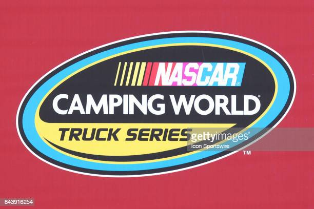 A general view of the NASCAR Camping World Truck Series logo seen during the Camping World Truck Series LTi Printing 200 race on August 12 2017 at...