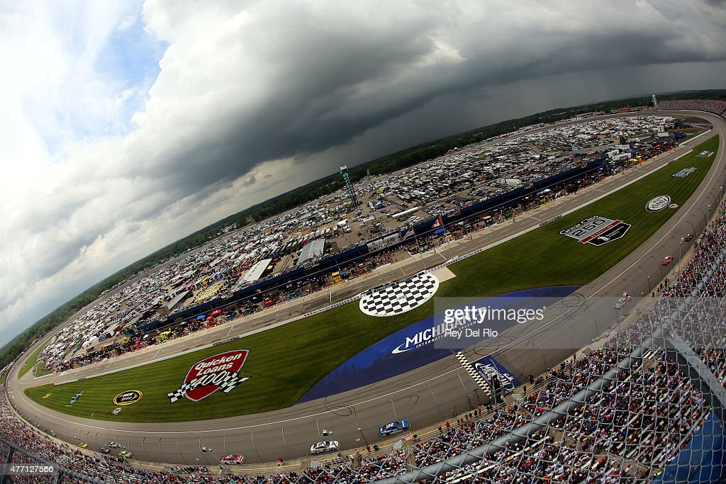 A general view of the NASCAR Sprint Cup Series Quicken Loans 400 at Michigan International Speedway on June 14 2015 in Brooklyn Michigan