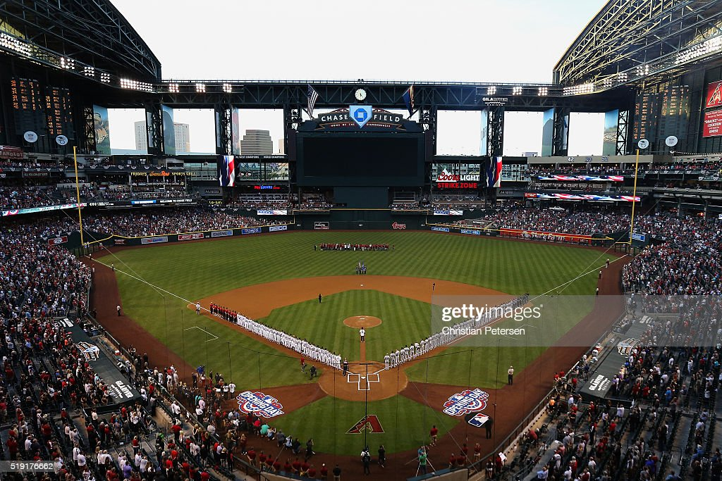 General view of the national anthem as the Arizona Diamondbacks and Colorado Rockies stand attended before the MLB opening day game at Chase Field on...