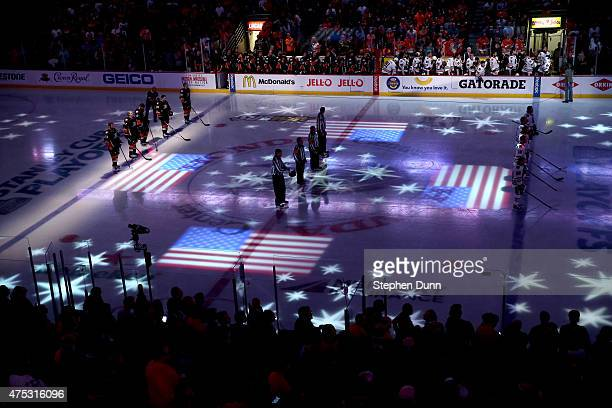 A general view of the national anthem before Game Seven of the Western Conference Finals during the 2015 NHL Stanley Cup Playoffs between the Anaheim...