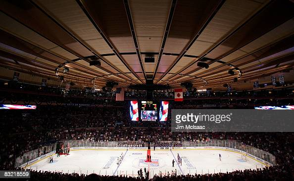 A general view of the national anthem before the Chicago Blackhawks play the New York Rangers on October 10 2008 at Madison Square Garden in New York...