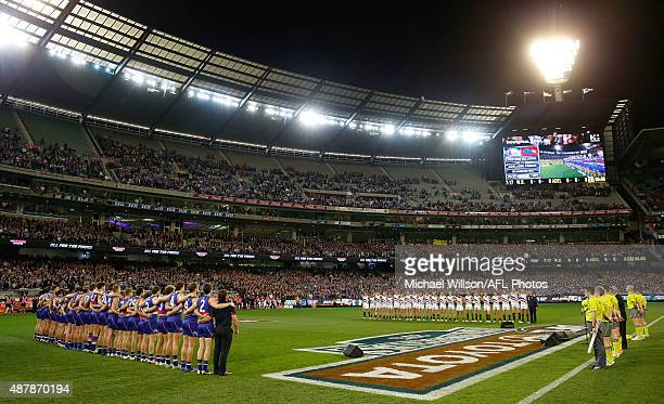 A general view of the national anthem during the 2015 AFL Second Elimination Final match between the Western Bulldogs and the Adelaide Crows at the...