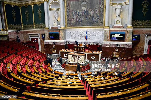 A general view of the National Assembly before the weekly questions to the government at French National Assembly on December 7 2016 in Paris France